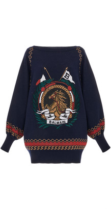 Balmain Oversized Printed Knit Sweater