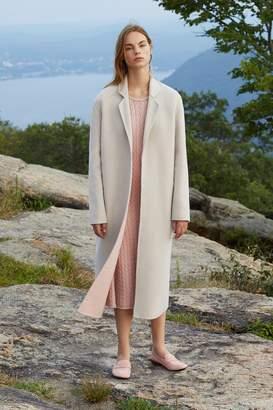 Mansur Gavriel Bicolor Wool Narrow Buttonless Coat - Beige/Blush