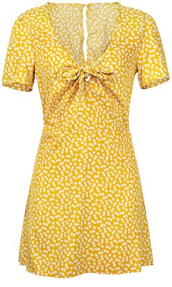 Goodnight Macaroon 'Annie' Floral Pattern Tied Front Mini Dress (4 Colors)