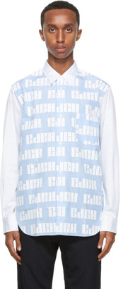 Comme des Garçons Homme White and Blue Striped Logo Pattern Shirt
