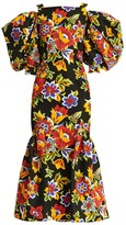 Carolina Herrera Dramatic Puff-Sleeve Floral Mermaid Midi Dress