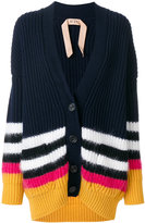 No.21 striped oversized cardigan - women - Polyamide/Mohair/Wool/Virgin Wool - S