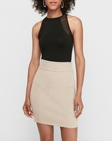 Express High Waisted Metallic Ribbed Mid-Thigh Sweater Skirt