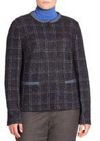 Basler, Plus Size Wool Blend Metallic Tweed Jacket