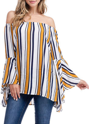 Fever Striped Off-the-Shoulder Ruffle-Sleeve Top