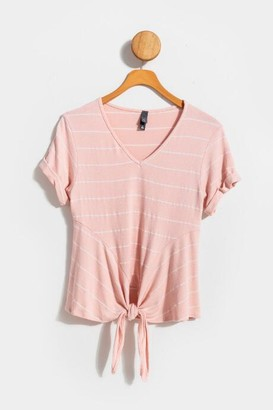 francesca's Becka Striped Front Tie Tee - Blush