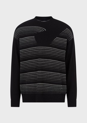 Emporio Armani Virgin Wool Plain-Knit Sweater With Oversized Jacquard Eagle