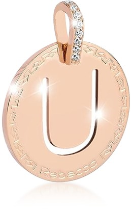 Rebecca Rose Gold-plated Bronze & Zirconia U Charm W/Rhodium-plated Necklace
