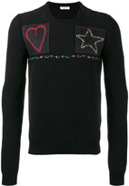 Valentino patched fisherman knit sweater - men - Cotton/Polyester/Cupro/Virgin Wool - S