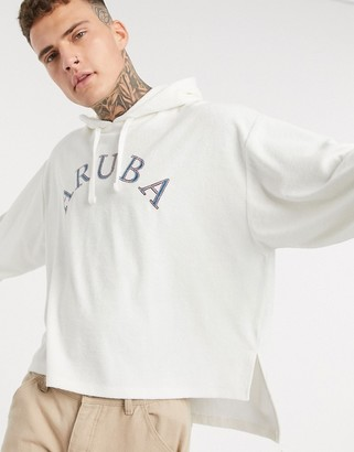 ASOS DESIGN oversized hoodie in towelling with aruba embroidery and split hem