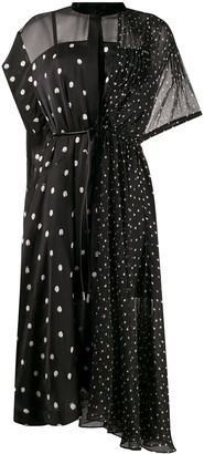 Sacai Sheer Panel Polka-Dot Dress