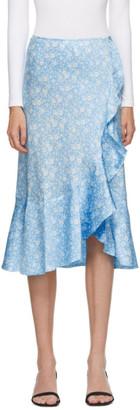 Ganni Blue Silk Floral Frill Skirt
