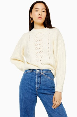 Topshop Womens Ivory Knitted Pointelle Crop Jumper - Ivory