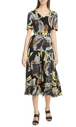 Lafayette 148 New York Roland Belted Floral Silk Midi Dress