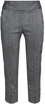 Gentry Portofino Gentryportofino Cropped Striped Linen-blend Slim-leg Pants