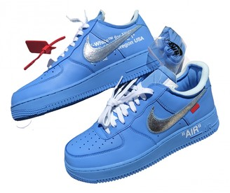 Nike x Off-White Air Force 1 Blue Leather Trainers