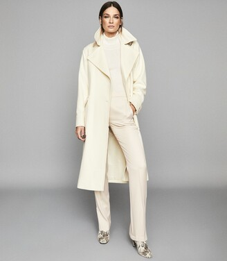 Reiss EVERLEY WOOL BLEND BELTED TRENCH COAT Ivory
