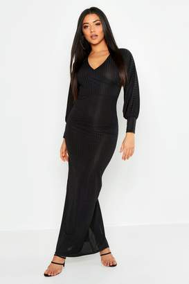 boohoo Rib Wrap Balloon Sleeve Maxi Dress