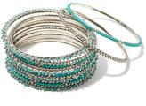 "RJ Graziano Color Culture"" 15pc Beaded Bangle Bracelet Set"