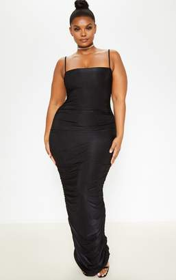 PrettyLittleThing Plus Black Strappy Slinky Ruched Back Maxi Dress
