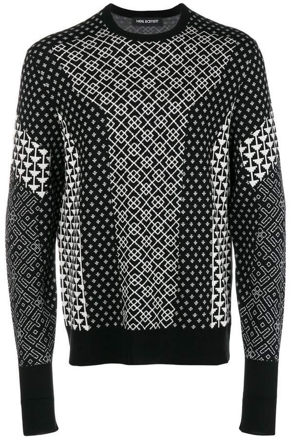 Neil Barrett contrast intarsia knit sweater