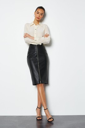 Faux Leather Zip Front Pencil Skirt