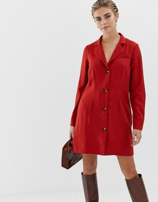 Glamorous button front dress with collar-Red