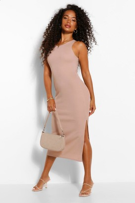 boohoo Petite High Neck Split Detail Rib Midi Dress