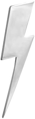 Edge Only Flat Top Lightning Bolt Lapel Pin Silver