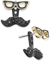 Kate Spade Dress The Part Gold-Tone Mustache & Glasses Earring Jackets