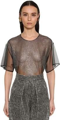 DANIELE CARLOTTA Crystal Embellished Sheer Tulle Top