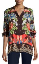Johnny Was Lotte Long-Sleeve Printed Challis Blouse, Plus Size