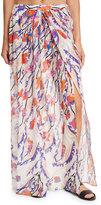 Emilio Pucci Ranuncoli Cotton Voile Maxi Coverup Skirt, White/Pink