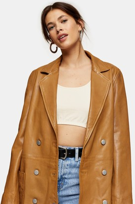 Topshop Tan Leather Boyfriend Blazer
