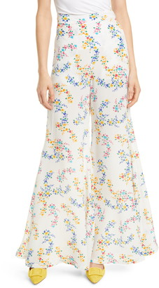 All Things Mochi Coco Floral Print Silk Crepe Flare Pants