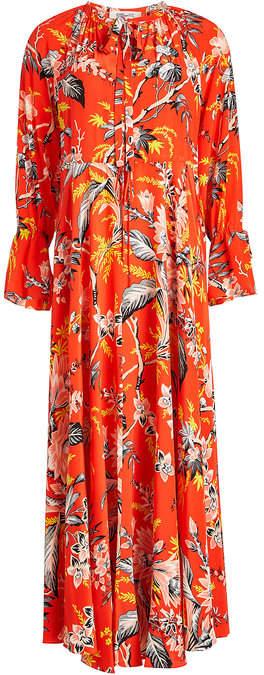 Diane von Furstenberg Waist Tie Printed Silk Maxi Dress