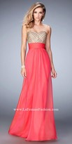 La Femme Double Strap Studded Prom Dress