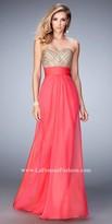 La Femme Double Strap Studded Prom Dress