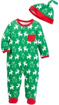 Offspring Holiday Reindeer Footie & Hat (Baby Boys)
