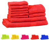 Trident Soft and Light 100% Combed Cotton 400 GSM 10-Pieces (Bath, Hand & Wash Cloth) Towel Gift Set, Orange
