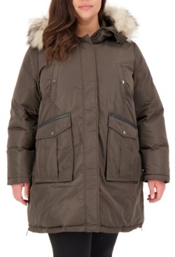 Vince Camuto Plus Size Faux-Fur-Trim Hooded Puffer Coat