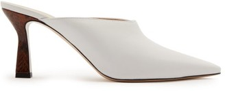 Wandler Lotte Watersnake-heel Leather Mules - Womens - White Multi