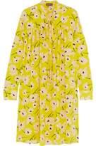 Rochas Pussy-Bow Ruffled Floral-Print Silk-Chiffon Dress