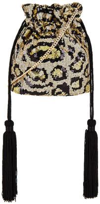Olga Berg Kezzie Leopard Sequin Drawstring Pouch Bag