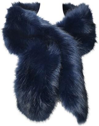 Hotstylezone Women Ladies Winter Faux Fur Scarf Neck Warmer Wrap Collar Shawl Stole Long (Navy Blue)