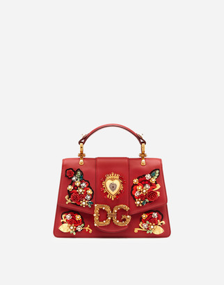 Dolce & Gabbana Amore Bag In Calfskin With Floral Jewel Embroidery