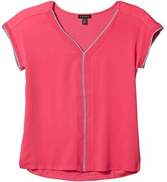 Tribal Cap Sleeve V-Neck Top w/ Knit Back (Hot Pink) Women's Clothing