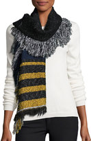 Neiman Marcus Striped Fringe Knit Scarf, Navy/Multi