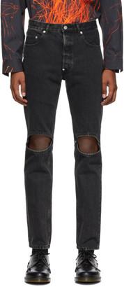 John Lawrence Sullivan Johnlawrencesullivan Black Bleached Knee Hole Jeans
