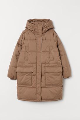 H&M Padded Hooded Coat - Brown